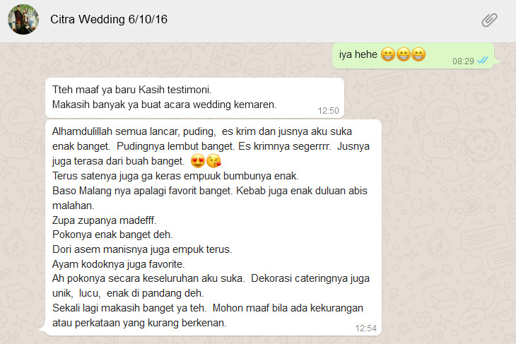 Review Resep Bunda Catering Wedding
