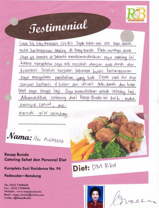 Testimonial catering diet Resep Bunda