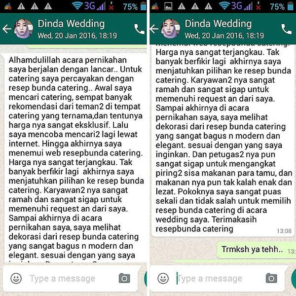 Testimoni Resep Bunda Catering Wedding